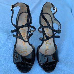 Sam Edelman Patenet Leather Black Strap Heels Sz 8